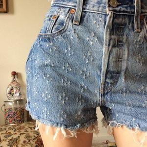 Levi's Shorts - LEVI'S Premium Dotted 501 Denim Raw Edge Shorts